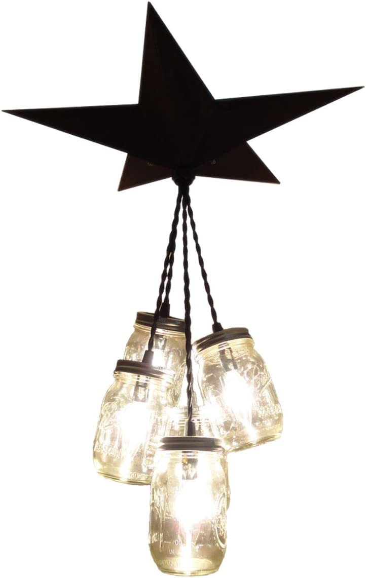 Mason Jar Chandelier Barn Star – Country Rustic Primitive Pendant Light – 5 Jars Black