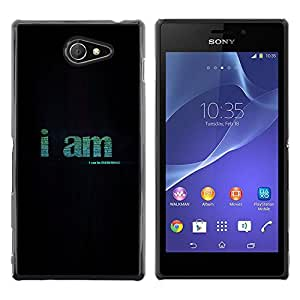 CASEMAX Slim Hard Case Cover Armor Shell FOR Sony Xperia M2- I AM - BE EVERYTHING