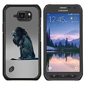 LECELL--Funda protectora / Cubierta / Piel For Samsung Galaxy S6Active Active G890A -- Blue Lion Rey Resumen Gris Rey --