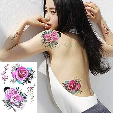 ljmljm 3 Piezas Tatuaje Impermeable Etiqueta Flor del Peony de ...