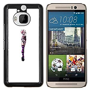 YiPhone /// Prima de resorte delgada de la cubierta del caso de Shell Armor - Chica púrpura suicidio mujer blanca de pollo - HTC One M9Plus M9+ M9 Plus