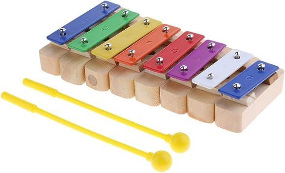 SM SunniMix 1 Pc Xilóofno con Martillos Placa de Aluminio de Niños para Principiantes Producción Instrumentos Musicales - 8 Notas