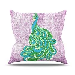 "Kess Inhouse Geordanna Cordero-fields ""Beauty In Waiting"" Green Pink Outdoor Throw Pillow, 16 By 16-inch"