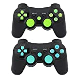 PS3 Controller Wireless Gamepad 6 Axis Dualshock 3 Game Remote Control Joystick for Playstation 3 with Charging Cable (Blue-Yellow)