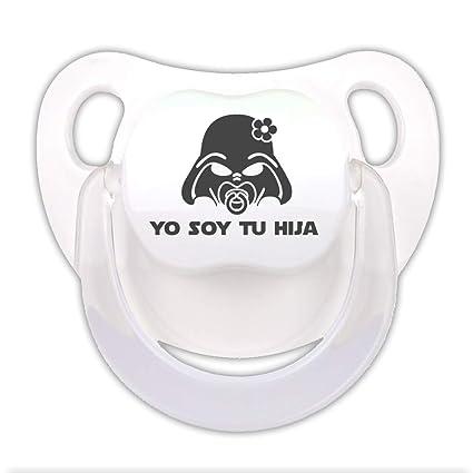 Chupete Yo soy tu hija. Chupete friki, chupete bebé parodia Star Wars - Darth Vader. (Blanco, 0-6 meses)
