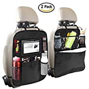 #LightningDeal 88% claimed: OYRGCIK Backseat Organizer for Kids 2 Type (A+B) Kick Mats Back Seat Car Protector with Multi Pocket Storage Bag Holder for iPad Tablet Bottle Tissue Box Toys Vehicles Travel, Black 2 Pack