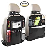 cover bag holder - Backseat Car Organizer for Kids, OYRGCIK Kick Mats Back Sear Car Protector with Multi Pocket Storage Bag Holder for iPad Tablet Bottle Drink Tissue Box Toys Vehicles Travel Accessories (Black, 2 Pack)