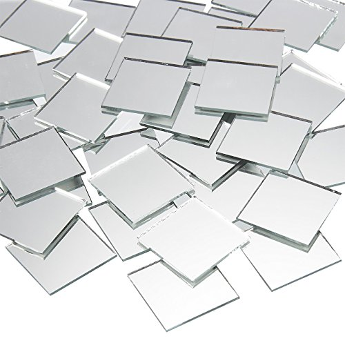 Craft Mirrors - 120-Pack Bulk Square Mirror Tiles - 1x1 Inch Glass Mosaic Tiles (Plastic Mirror Tiles Large)
