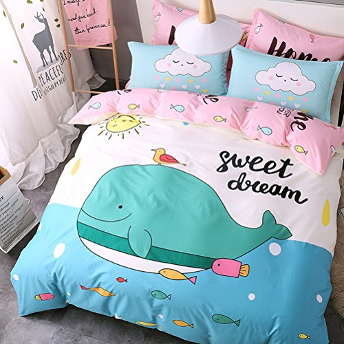 WarmGo Home 3 Piece Bedding Set Lovely Dolphin Fish Duvet Covet Set Twin Size with Personality Pillowshams 100% Cotton-Not Include Comforter by WarmGo