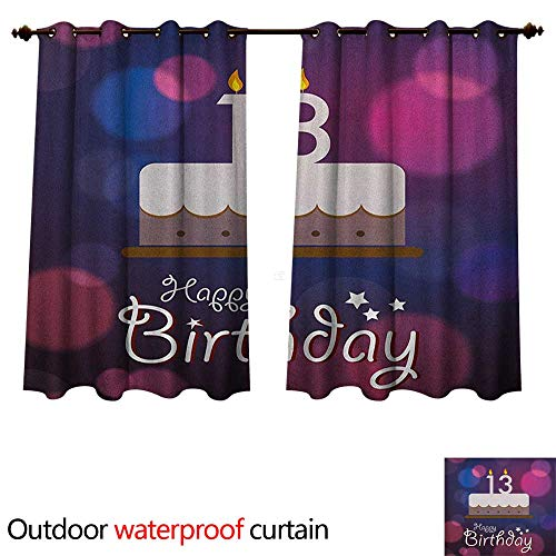 (13th Birthday Home Patio Outdoor Curtain Hand Drawn Style Party Cake with Number Candles on Abstract Backdrop W63 x L63(160cm x)