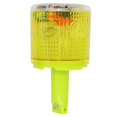 Aolyty Solar Strobe Warning Light 360 Degree Single Column Super Bright Waterproof IP48 for Construction Traffic Dock Marine Wireless Light Control Flashing (Yellow): Automotive