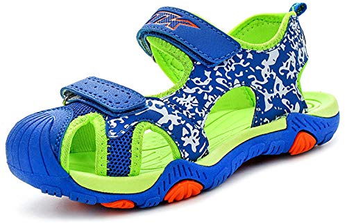 (Boys Sandals Hiking Athletic Closed-Toe Beach Sandals Kids Summer Shoes Green Blue 2 M US Little Kid)