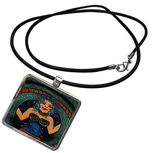 3dRose BlakCircleGirl - Halloween - Medusa - The Mythological Medusa with a Snake Body and snakey Hair - Necklace with Rectangle Pendant (ncl_300241_1) ()