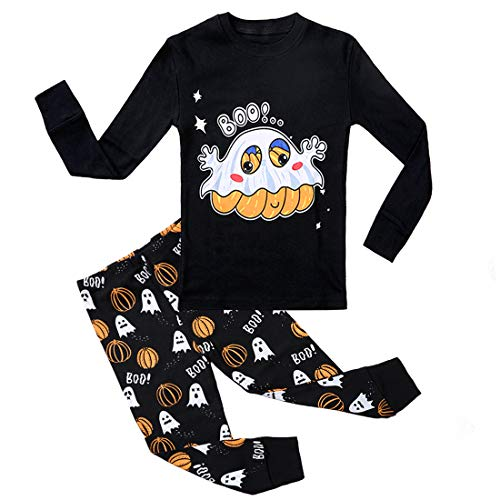 Kedofe Boy Pajamas Set Long Sleeve 100% Cotton Toddler Sleepwear Little Big Child Snug-Fit PJS (Black/Halloween Pumpkin, 5) -