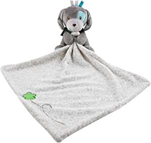 MamaBaby Security Blanket Comforter Lovey, Baby Blanket Boy or Girl 100% Cotton Soft and Cuddly (Blue & Grey Puppy)