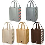 Avery Barn 5pc Checkers Design Grommet Reinforced Reusable Grocery Shopping Bags