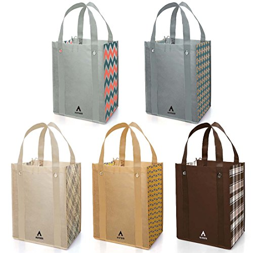 Avery Barn 5pc Checkers Design Grommet Reinforced Reusable Grocery Shopping - Tote Grommet Bag