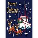 Merry Christmas Shrimp Boat with Reindeer 30 x 44 Rectangular Large House Flag Review