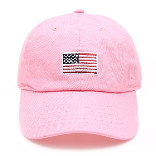 MIRMARU USA American Flag Embroidered 100% Cotton Adjustable Strap Baseball Cap Hat (Flag - Light Pink) (Flag Usa Lights)