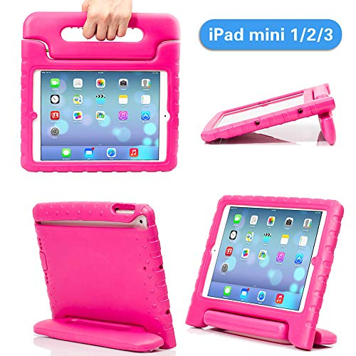iPad Mini Case iPad Mini 2 case iPad Mini 3 Case with Adjustable Handle Stand Antibacterial Shockproof Anti-Fall EVA Rugged Kids Cover Case for Apple iPad Mini 1/2/3 (Pink)