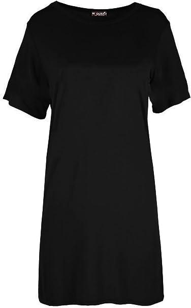 Womens Short Sleeve Plain Round Neck Baggy Oversized Basic Summer T-Shirt Top