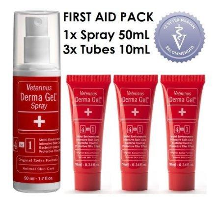 Veterinus Derma GeL 1 x Spray 50mL - 1.7 fl.oz. + 3 x Mini Tubes 10mL - 0.34 fl.oz. - CAT Safe Non Toxic Contains: Freeze Dried Lavender extr. (no Essential Oil)