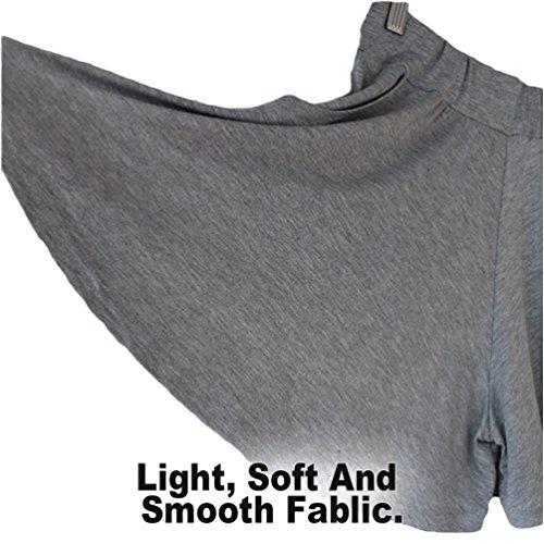 Women's Easy Shorts Elastic Waist Culottes Comfortable Relax Wear (Grey) Culottes Elastic Waist Shorts Flare Shorts Knee Length Loose Fit Shorts Mini Skirt Sheer Spats by PT&Key (Image #3)
