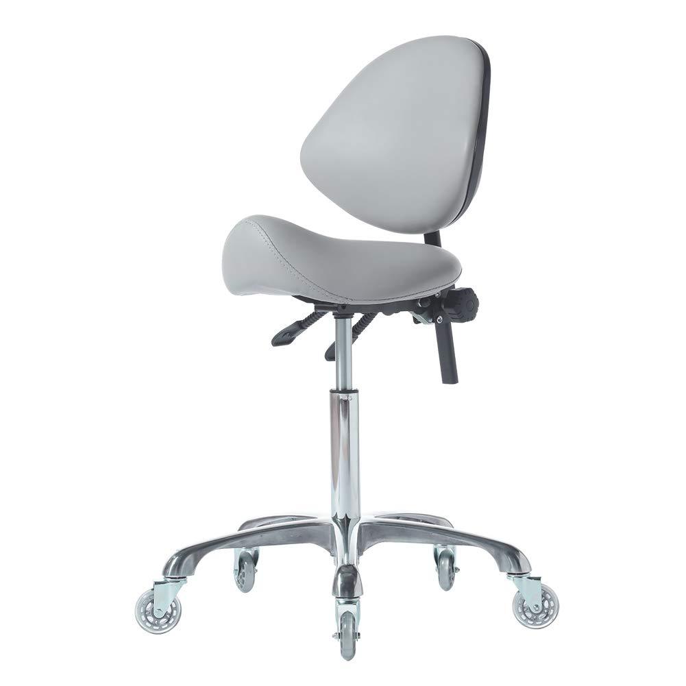 FRNIAMC Hydraulic Saddle Rolling Adjustable, Heavy-Duty (450 lbs) Stool Chair for Beauty Salon Massage Dental Clinic Home Office Use(Grey): Furniture & Decor