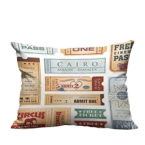 (YouXianHome Decorative Couch Pillow Cases Tickets Circus Cinema Museum F tival Old Baby Blue Light Brown Red Easy to Wash(Double-Sided Printing) 19.5x30 inch )