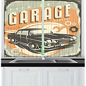 Ambesonne Man Cave Decor Kitchen Curtains, Promotional Retro Design Auto Mechanic Car Service Concept Nostalgic Vehicle, Window Drapes 2 Panel Set for Kitchen Cafe, 55 W X 39 L Inches, Multicolor