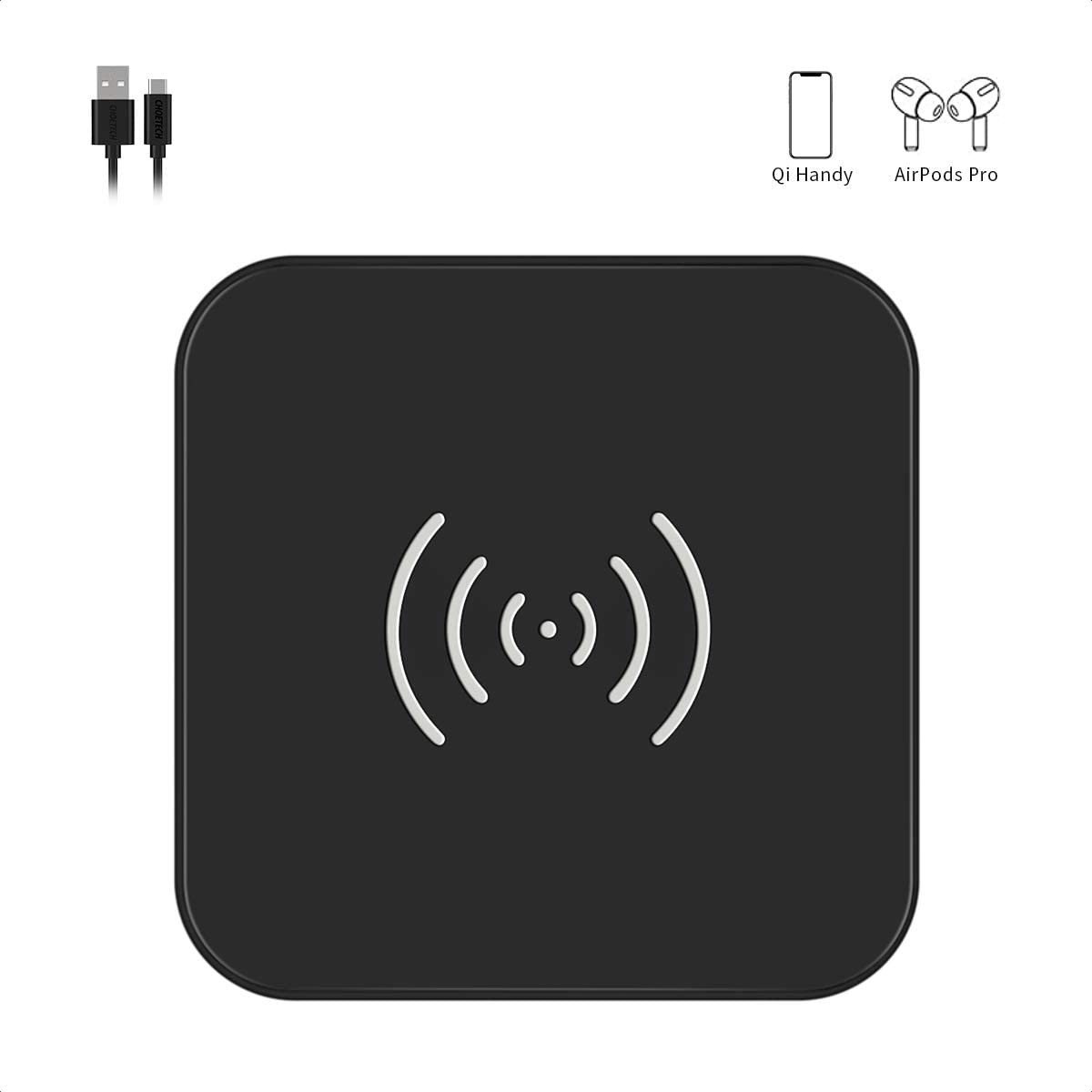 CHOETECH Cargador Inalámbrico Qi, Fast Wireless Charger, 7.5W para iPhone 11/11pro/SE 2020/X/XS MAX/XR/8, 10W Carga Rápida Samsung S20+/S10/S10+/S9/S8/Note10 y 5W Xiaomi 9/Huawei P30 Pro, Airpods2