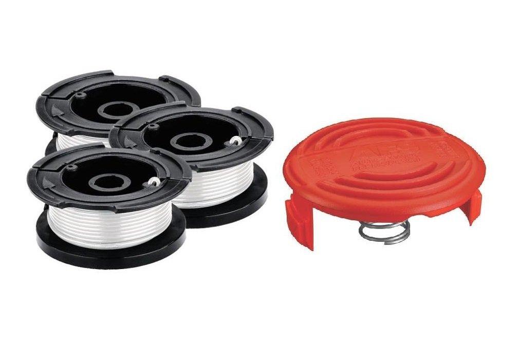 Black & Decker 3 Pack of AF100 Trimmer Line Spools and RC100 Cap
