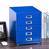 Z PLINRISE Office File Cabinets 5-Drawer - Size: 13.8'' x 13.8'' x 11'' Metal Filing Cabinet Organizer for Craft/Document, 14 inch Height (Blue)