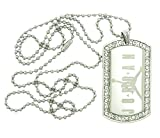 Air Jordan Dog Tag with CZ Rhinestones Pendant Necklace