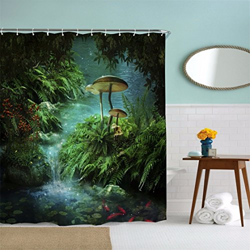 A.Monamour Enchanted Pond Fantastic River Green Tropical Plants Leaves Mushroom Fish Moss Rainforest Wild Jungles Nature Scenery Polyester Fabric Bathroom Shower Curtain Set 180x200 cm/72