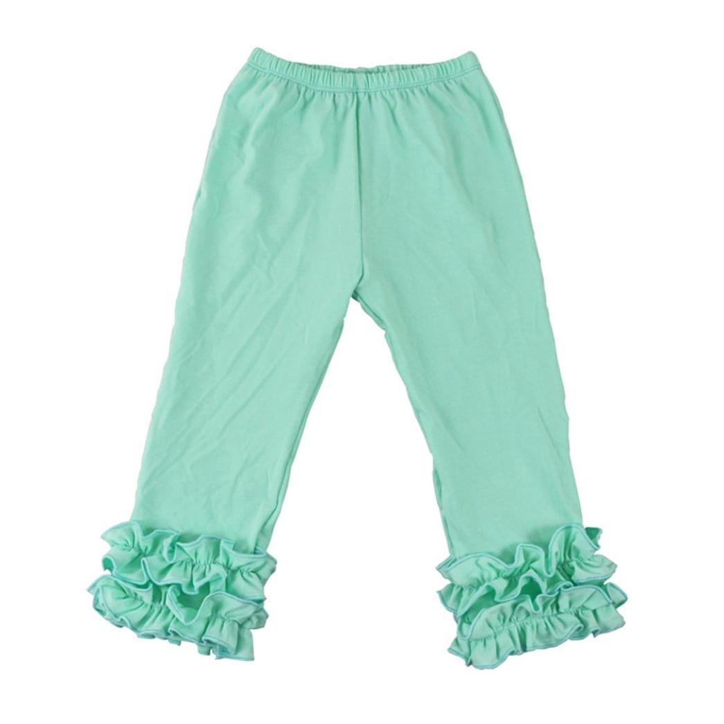 iumei Little Girl Ruffle Solid Warm Stretchy Leggings Kids Skinny Fold Long Pants 2-6T