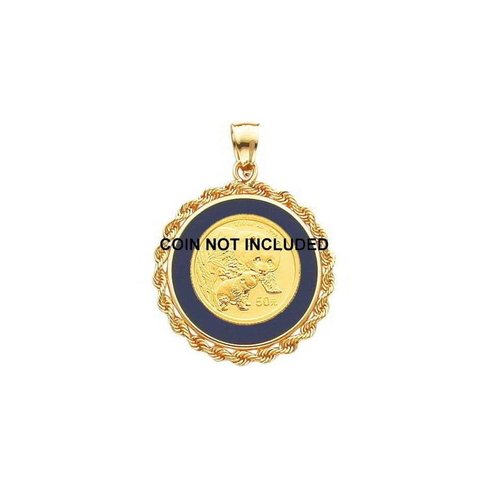 14K Gold Onyx Rope Bezel for 1/10oz Chinese Panda Coin