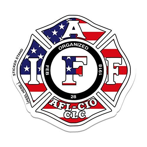 International Association of Firefighters IAFF USA FLAG - Car, Truck, Notebook, Bumper, Window Vinyl ()