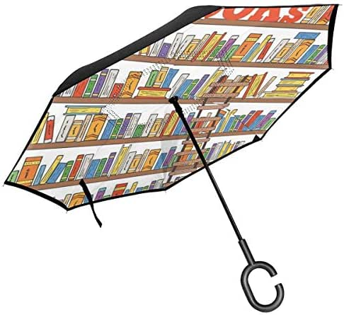 RachelReichert Library Bookshelf with A Ladder Windproof Double Layer Folding Inverted Umbrella,Self Stand Upside-Down Rain Protection Car Reverse Umbrellas with C-Shaped Hand (42.5in)