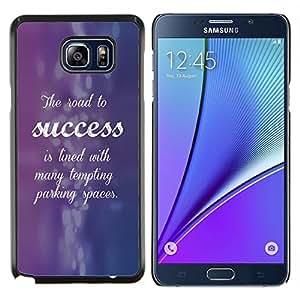 KLONGSHOP // Cubierta de piel con cierre a presión Shell trasero duro de goma Protección Caso - Éxito púrpura azul Inspiring Cita - Samsung Galaxy Note 5 5th N9200 //