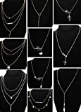 LOLIAS 10 Pcs Layered Pendant Necklace for Women Girls Boho Y Choker Necklace Set