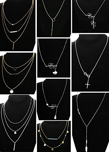 LOLIAS 10 Pcs Layered Pendant Necklace for Women Girls Boho Y Choker Necklace Set by LOLIAS