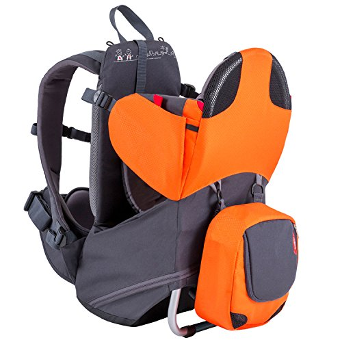 phil&teds Parade Child Carrier Frame Backpack, Orange – Compact, Lightweight (4.4lbs) – Holds a 40lb Child – Ergo Fit Harness – Waterproof – Minipack Included – 2 Year Guarantee