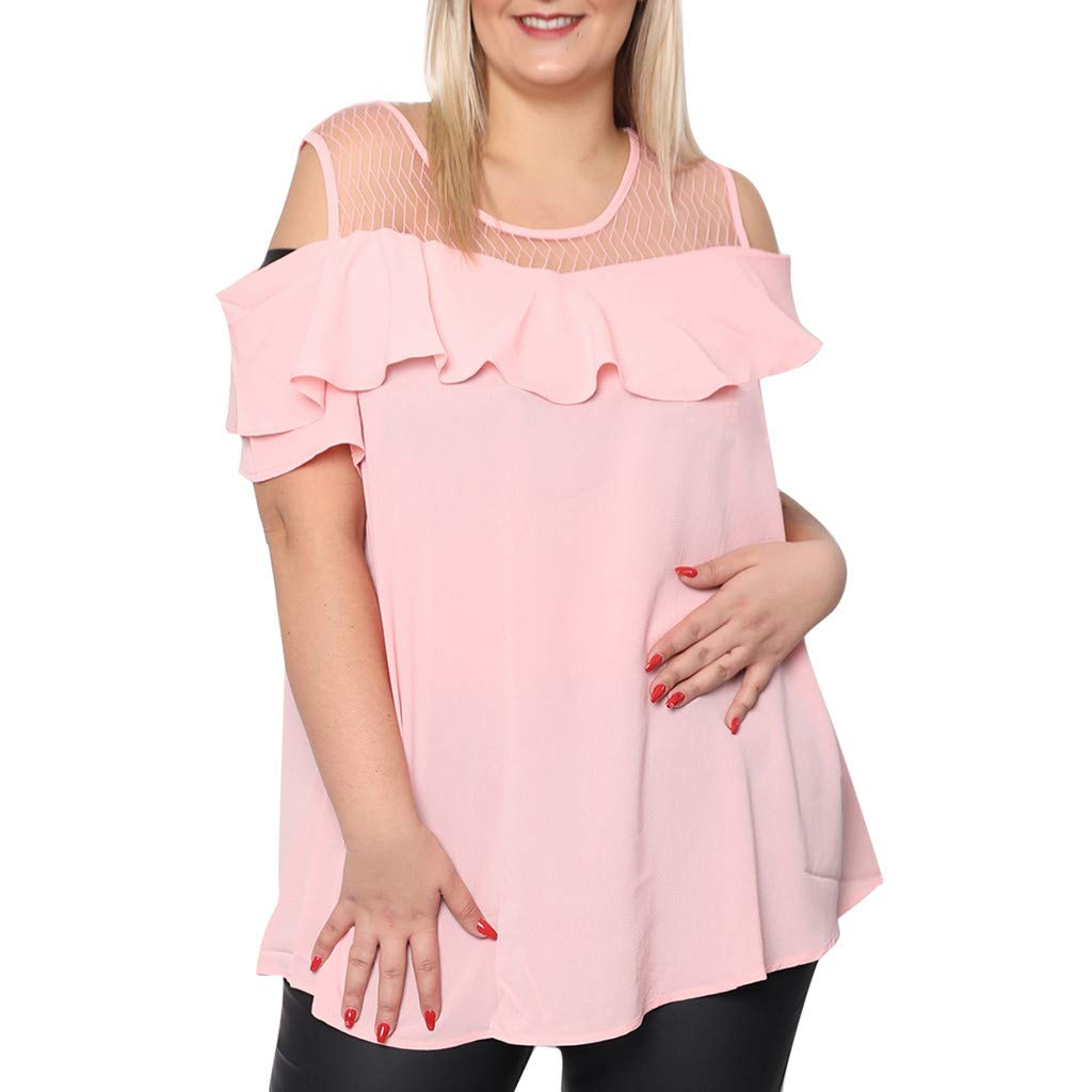72ecb9986f KYLEON Women T-Shirts Plus Size Mesh Patchwork Tops Cold Shoulder Ruffles  Solid Ladies Summer Casual Blouses Tees Tops at Amazon Women s Clothing  store