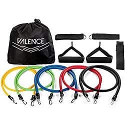 VALENCE 11pc RESISTANCE BAND SET - 5x Exercise Bands, Ankle Straps, Foam Handles, Door Anchor, & Waterproof Carrying Bag All Included - For Resistance Training & Fitness Workouts
