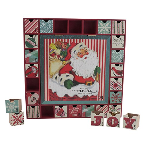 [해외]홀 마크 홈 빈티지 1950 년대 산타 우드 서랍 강림절 달력 영감/Hallmark Home Vintage Inspired 1950s Santa Wood Drawer Advent Calendar