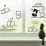 YUMULINN wallpaper stickers Wallpapers murals Personality fashion home cute background wall stickers cartoon super cute cat decorative warm bedroom living room stickers, 60X90CM