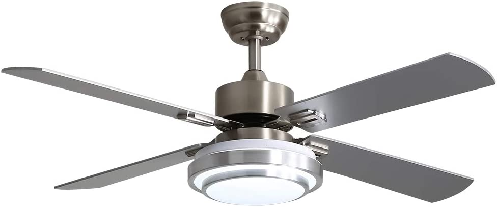 Warmiplanet 52-inch indoor ceiling fan with integrated LED lighting kit and remote control, four reversible white/silver blades, brushed nickel