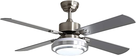 Warmiplanet Ceiling Fan with LED Light and Remote Control, 52 Inch, Brushed Nickel (4-Blades)