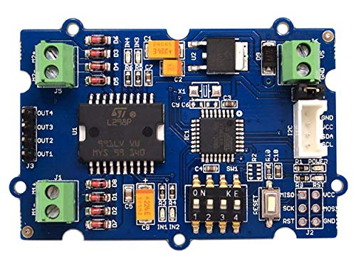 (Seeed Studio Grove - I2C Motor Driver Atmel ATmega8L Dual Channel H-Bridge Driver Power Brushed DC Motors and 1 Stepper Motor Arduino Compatible with 5V Voltage Regulator)